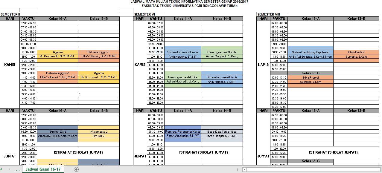Jadwal Semester Genap 2016/2017