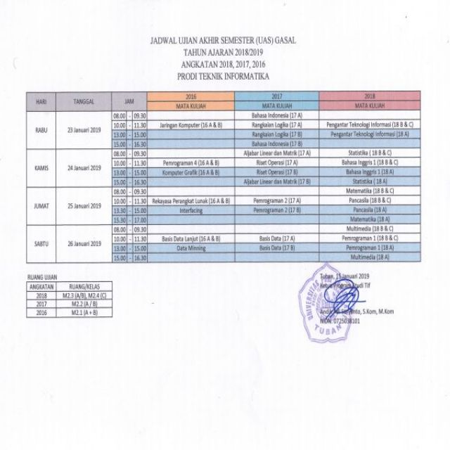 Jadwal UAS Semester Gasal 2018/2019