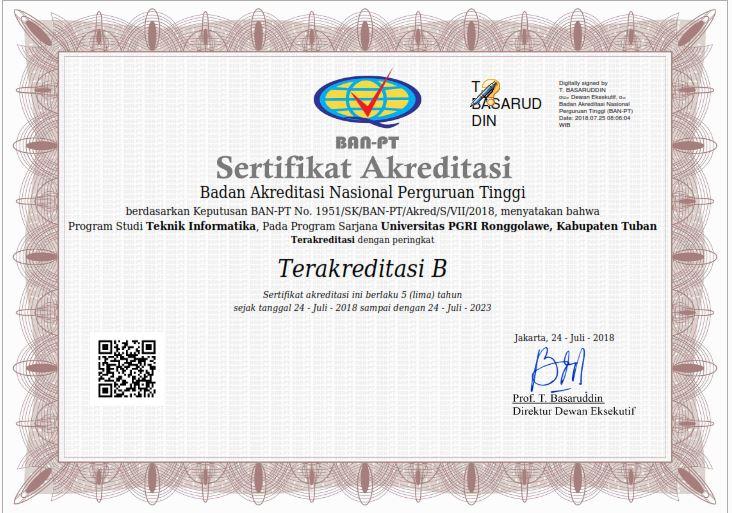 Akreditasi Program Studi Teknik Informatika  B
